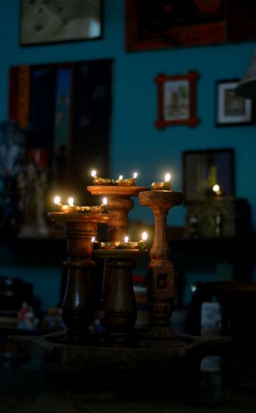 Chair leg candle stands for brass diyas
