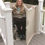 Woman Using Wheelchair Lift