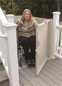 Woman Using Outdoor Wheelchair Lifts