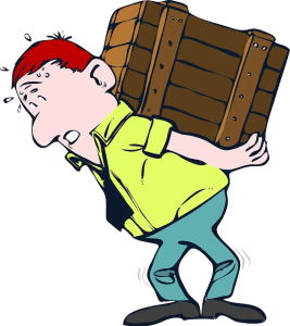 Cartoon of a man carrying a big wood case