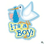 It's a boy announcement graphic with stork and yellow and blue colors