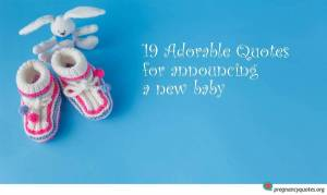 Booties and bunny on blue background and quotes for announcing a new baby