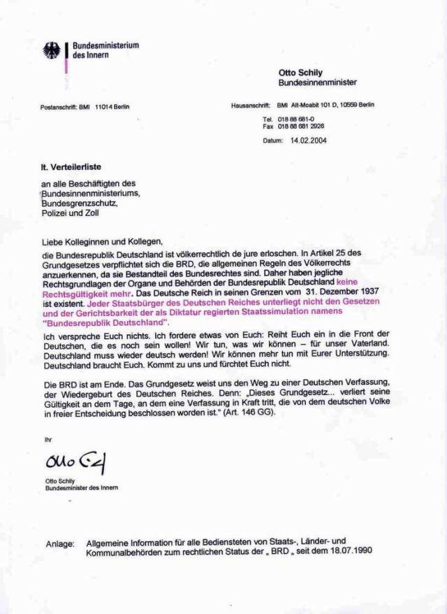 Otty Schily Rundschreiben BRD aufgelöst