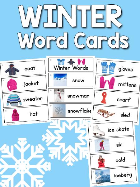 Winter Word Cards Prekinders
