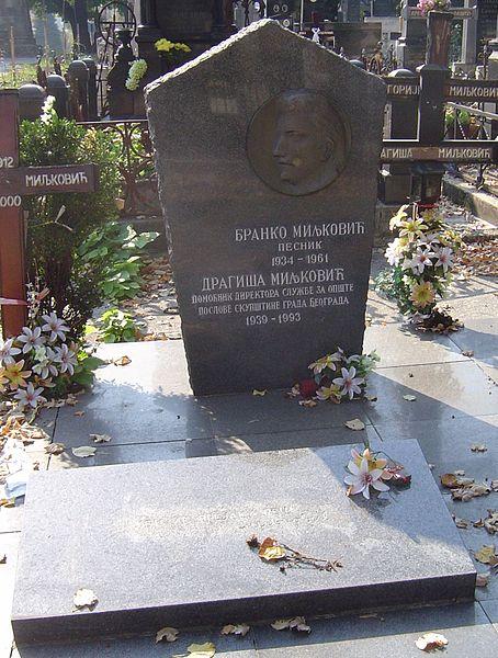 Miljkovićev grob na beogradskom Novom groblju