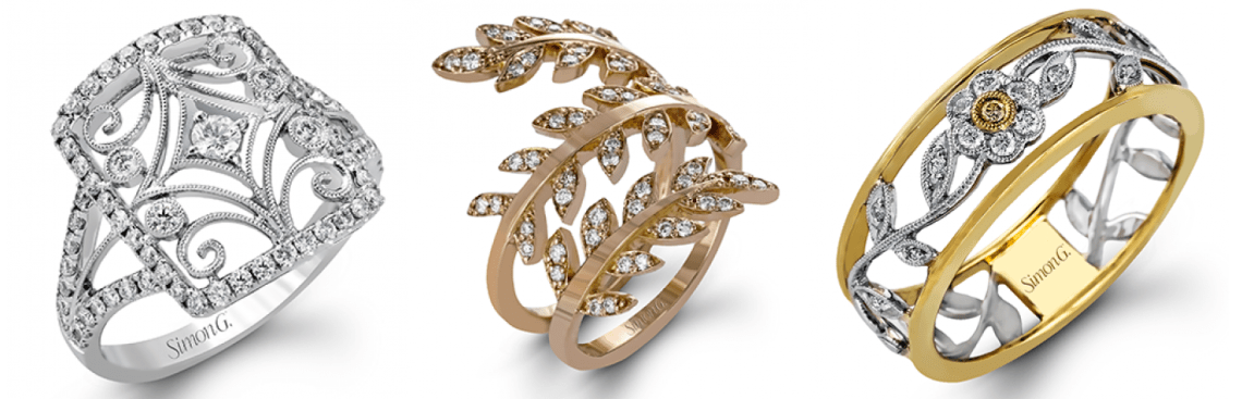 Simon G fashion Rings at Quenan's Jewelers