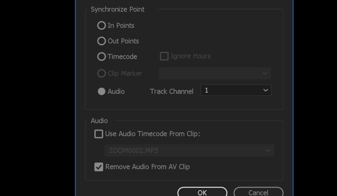 Sincronizzazione dell'audio da pannello progetto