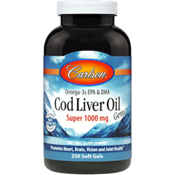 Carlson Labs Super Cod Liver Oil 1000 mg 250 gels CODL8