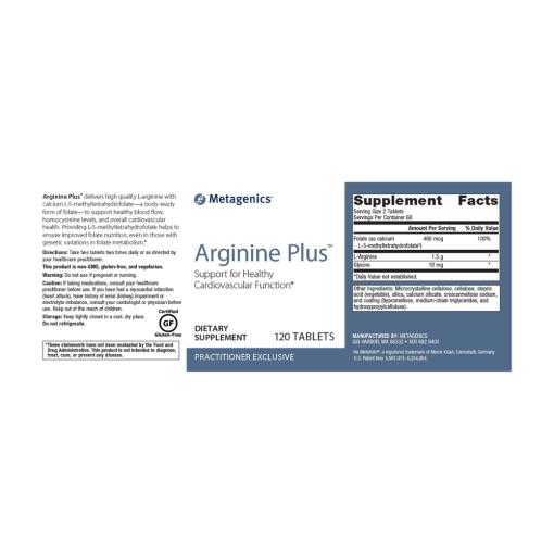 Metagenics Arginine Plus Label