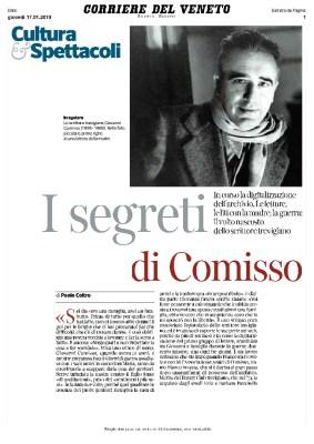 I segreti di Comisso. In corso la digitalizzazione dell'archivio (Corriere del Veneto, 17/01/2019)