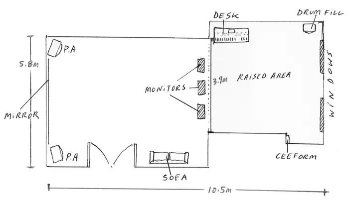 Rehearsal studio 1 floorplan sketch