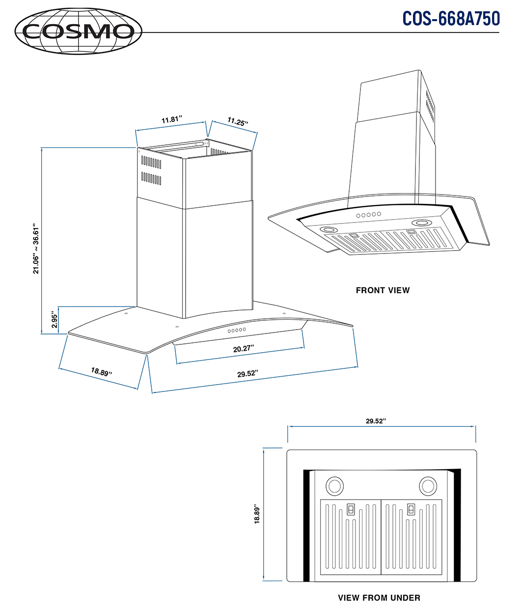 30 In Wall Mount Range Hood Cosmo Appliances Cos 668a750 Dl