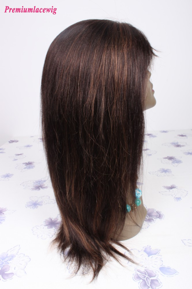 14inch Color2 Highlight30 Mongolian Hair Straight Lace