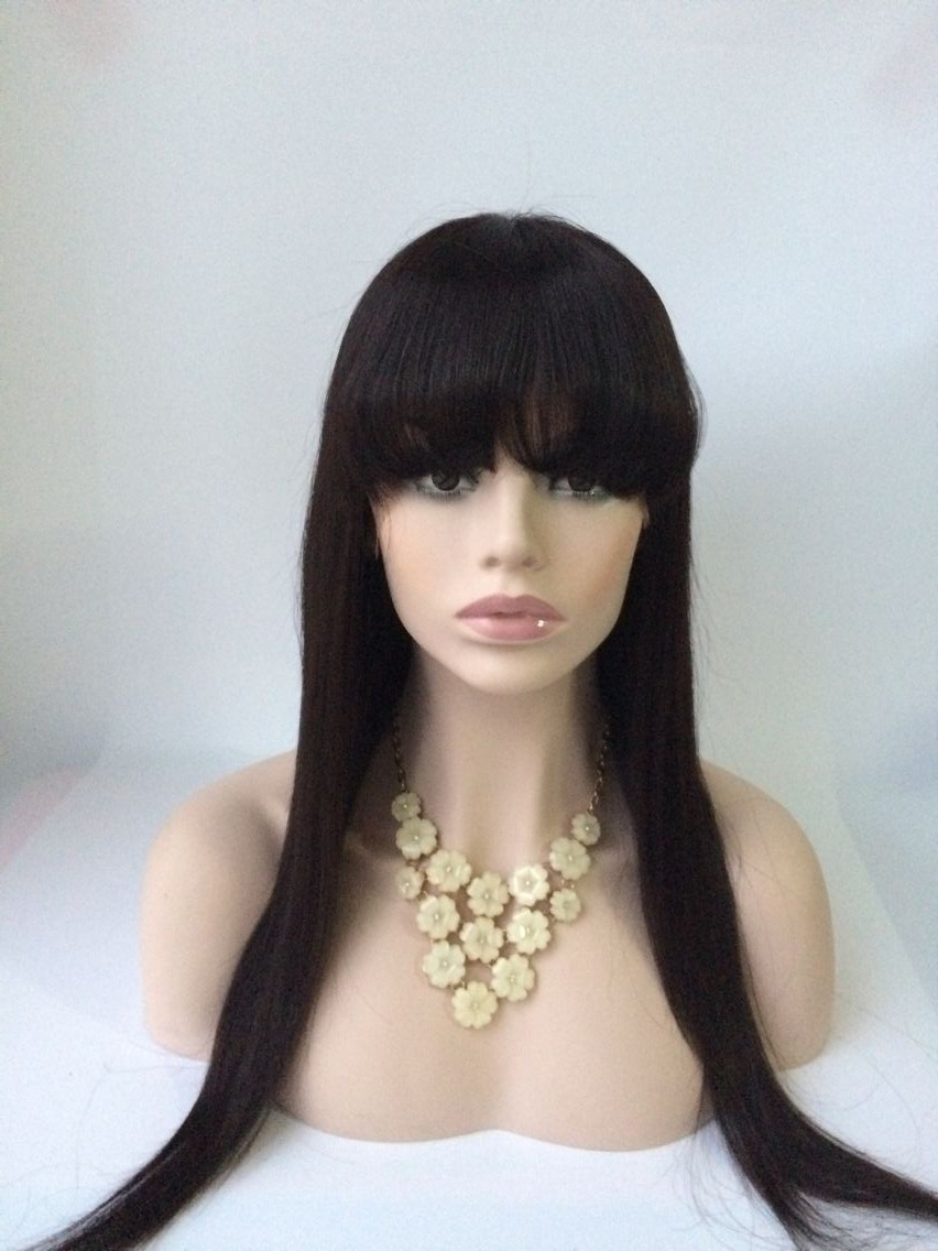 22inch Natural Color Malaysian Hair Lace Front Wig With Bang