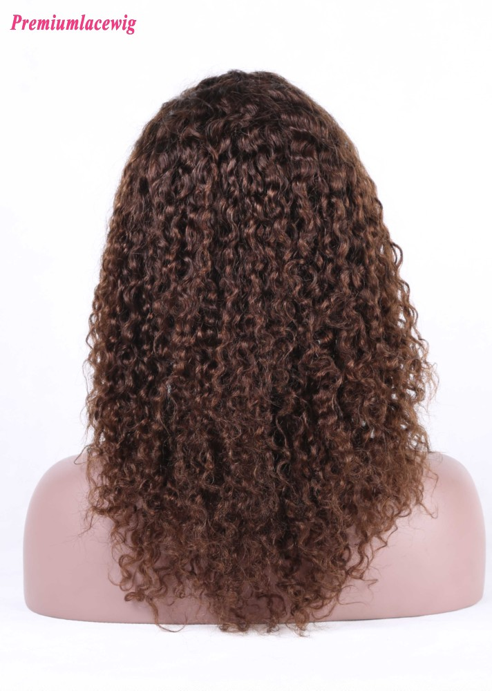 Deep Curly Silk Base Lace Front Wig Peruvian Hair Color 4