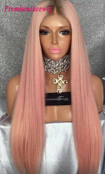 Buy Full Lace Wig Pink Color Brazilian Straight Hair Wigs