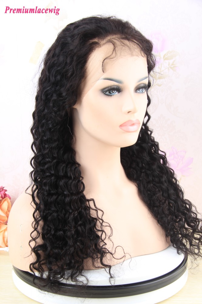 16 Inch Deep Curly Peruvian Human Hair Full Lace Wig
