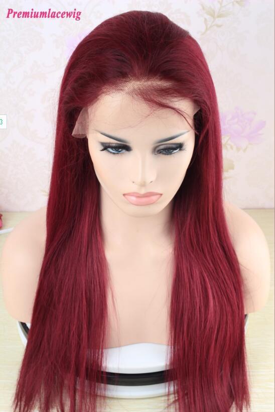 99J Brazilian Straight 360 Lace Frontal Wigs Pre Plucked