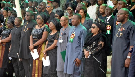 PRESIDENT GOODLUCK JONATHAN (3RD R) REPRESENTATIVE OF THE VICE PRESIDENT, PROF. TAMUNO BENEBO (4TH-R), FIRST LADY DAME PATIENCE JONATHAN (2ND R) GOV SERIAKE DICKSON OF BAYELSA (R) WIDOW OF GEN.ANDREW AZAZI, ALERO (5TH R) AND HER CHILDREN AT THE FUNERAL MASS FOR GEN. AZAZI AT THE PEACE PARK YENAGOA ON SATURDAY. PHOTO: NAN