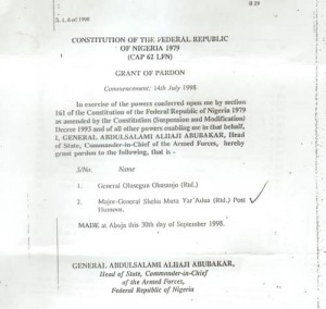 Gazette document for the pardon of Olusegun Obasanjo, Shehu Yar'Adua... Document: Courtesy Daily Trust