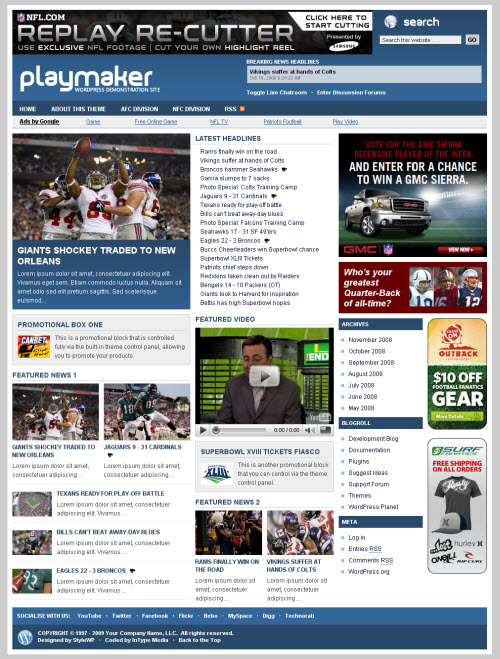 Template wp newspaper style blog for Playmaker templates