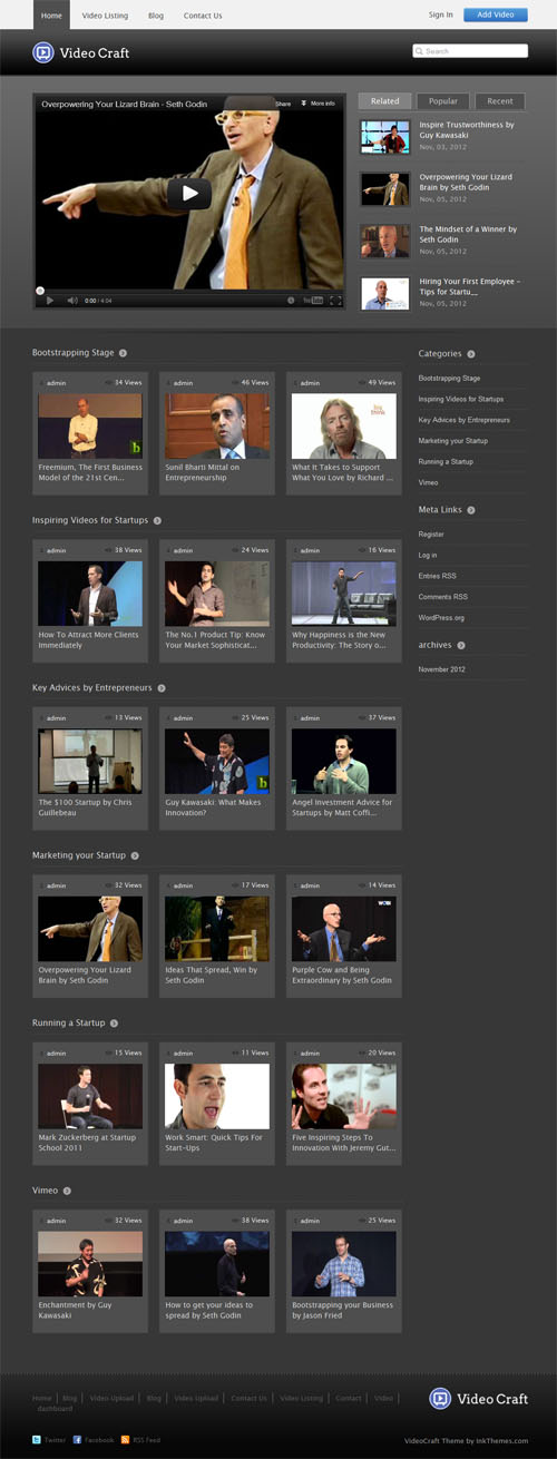 Vídeo Craft Tema WordPress