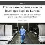 Dieron a conocer el primer caso de coronavirus en el Perú