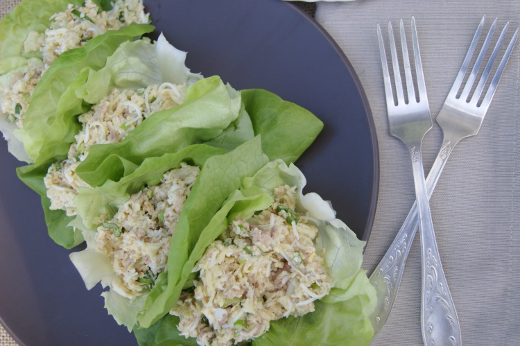 Cod Liver, Rice & Egg Lettuce Wraps - Incredibly nutrient-dense cod-liver tossed with cauli-rice (or regular rice), pastured eggs and drizzled dill yogurt dressing.