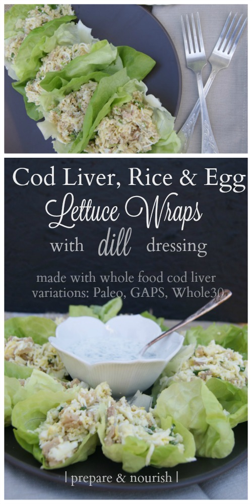 Cod Liver, Rice & Egg Lettuce Wraps - Incredibly nutrient-dense cod-liver tossed with cauli-rice (or regular rice), pastured eggs and drizzled dill yogurt dressing. Nourishing for #GAPS diet and #Paleo and even #whole30 compliant if the dressing is omitted