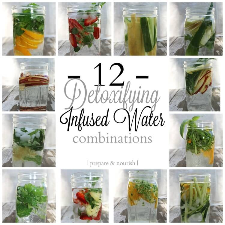 12 Detoxifying Infused Water Combinations - stay hydrated and refreshed with these common add-ins to your water. Spruce up your water and add more nutrition to your refreshing drink.