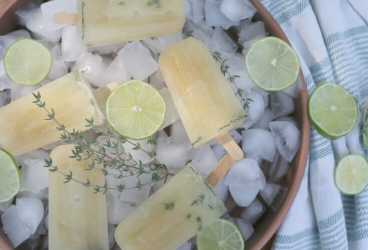 Honey-Sweetened Thyme and Lime Popsicles - a refreshing treat that creates the perfect blend of thyme and lime together with NO refined sugar.