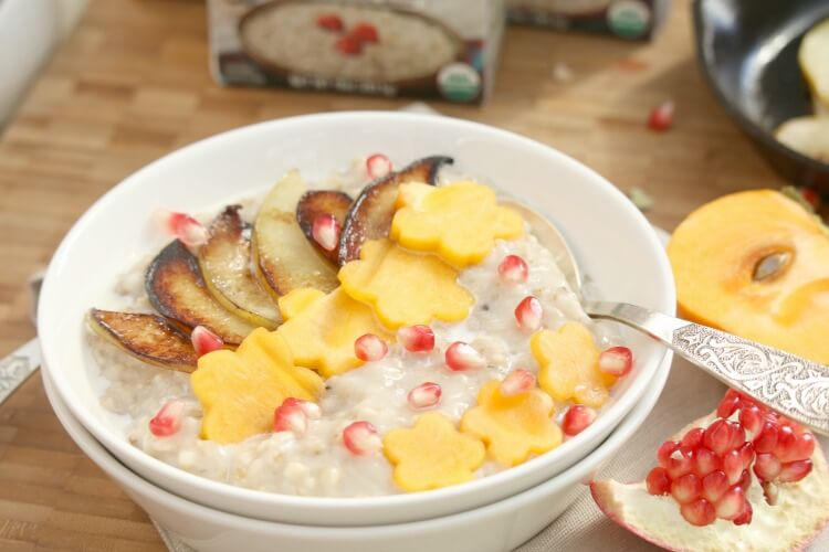 Fall Inspired Steel Cut Oatmeal - start the day off with a hearty breakfast topped with browned pears and other seasonal fruits.