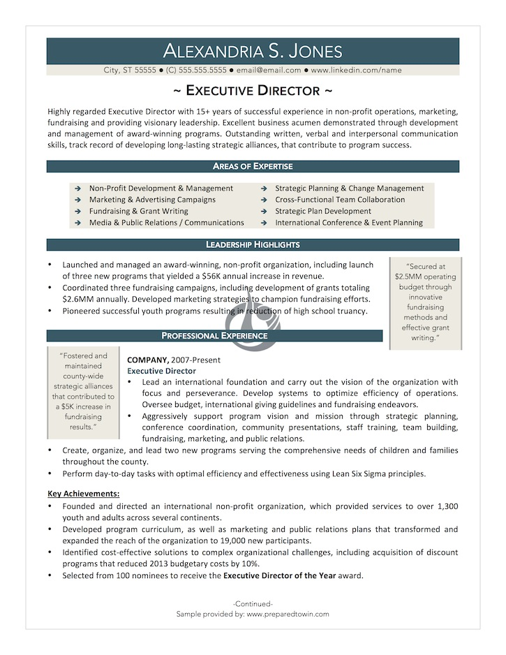 use the form below to delete this executive director resume sample v