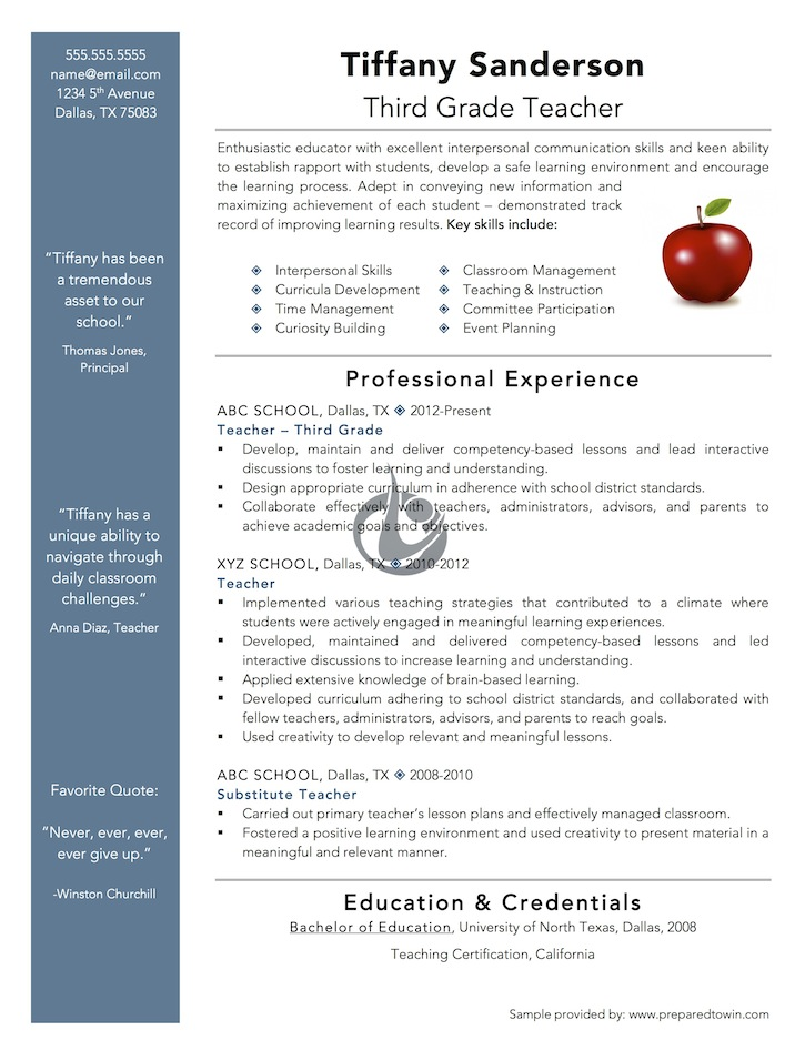 Resume Templates For Teachers Free | Resume Format Download Pdf