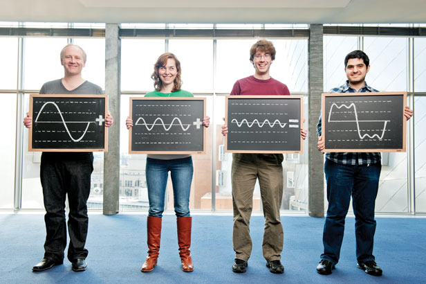 MIT researchers showing how sine waves can combine to make a square-ish wave.