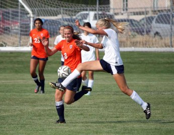 MIdfielder Liza Smith of Timpview steps into position to make a play on the ball. (Photo by Kurt Johnson)