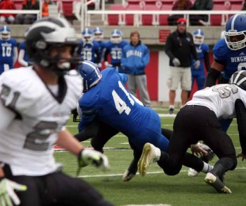 Bingham linebacker Parker Workman (41) delivers big hits all over the field. (Photo by Kurt Johnson)