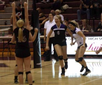 Lehi celebrates a point during its Sept. 24, 2015 win over Lone Peak. (Photo by Kurt Johnson)