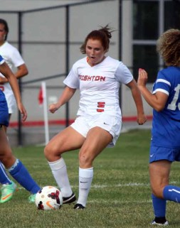 Taylor Kasteler was strong in midfield for Brighton Tuesday. (Photo by Kurt Johnson)