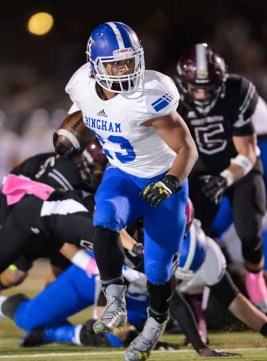 Jahvontay Smith is one of Bingham's powerful crop of runnings backs. (Photo by Dave Argyle, dbaphotography.com)