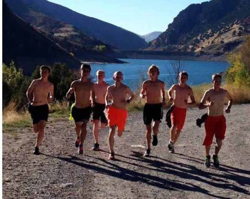 Hayden Ewer and the Mountain Crest boys cross country team.