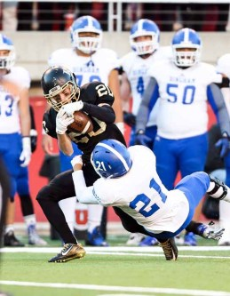 Lone Peak's Nate Bennett secured two timely interceptions in the Knights' semifinal win over Bingham. (Photo by Kevin McInnis)