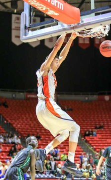 Three spectacular dunks by Gavin Baxter highlighted Timpview's semifinal win. (Photo by Kevin McInnis)