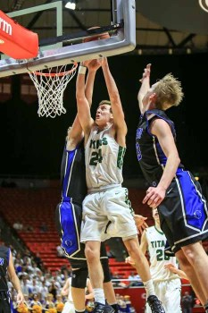 Matt Lindsey of Olympus gets to the rim during his 31-point state semifinal performance. (Photo by Kevin McInnis)