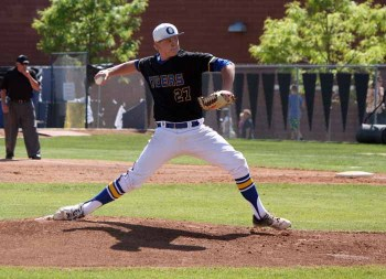 Paxton Schultz went the distance on the mound for Orem. (Photo by Kurt Johnson)