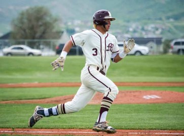 Jaren Hall is a five-tool player on the baseball diamond. (Photo by Jeff Porcaro, maplemountainsports.com)