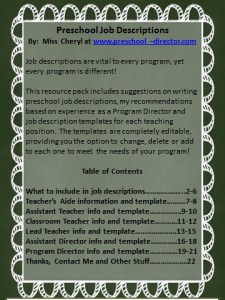 Preschool Job Description Resource Templates Product Preview