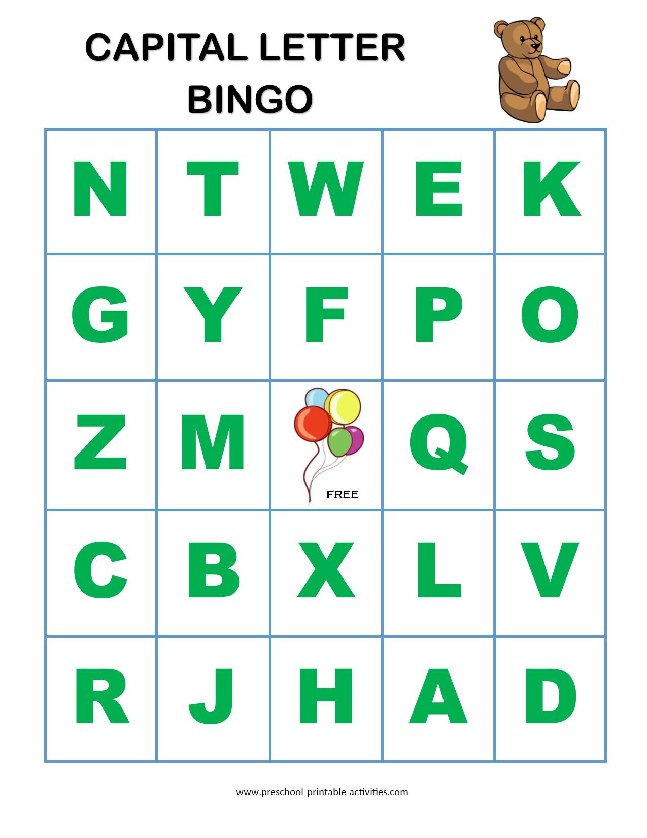 Letter Recognition Bingo Games