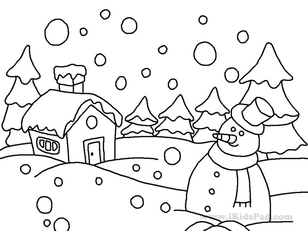 Snow Scene Coloring Page Lessons Worksheets And Activities