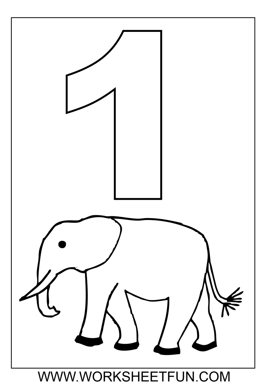 Number 1 One Tracing And Coloring Worksheets